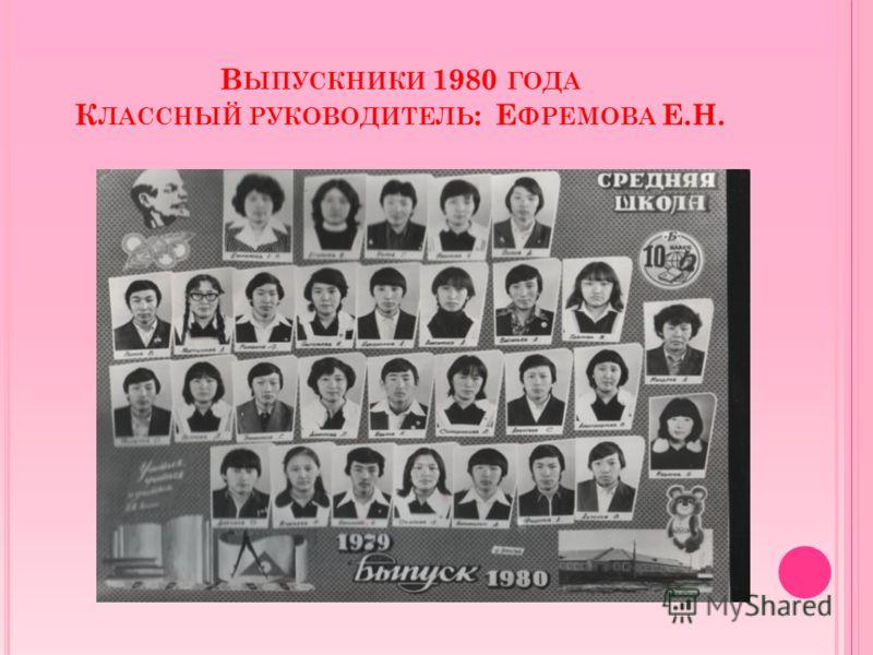 В ЫПУСКНИКИ 1980 ГОДА К ЛАССНЫЙ РУКОВОДИТЕЛЬ : Е ФРЕМОВА Е.Н.