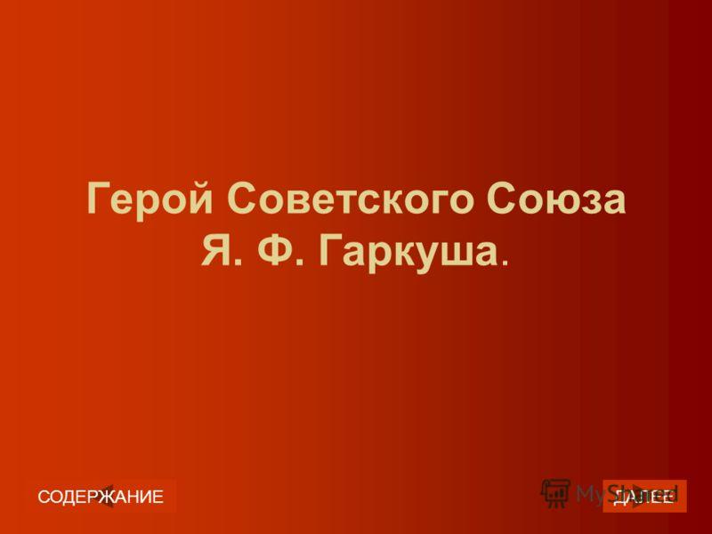 Герой Советского Союза Я. Ф. Гаркуша. ДАЛЕЕСОДЕРЖАНИЕ