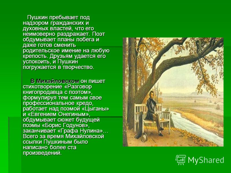 Пушкин пребывает под надзором гражданских и духовных властей, что его неимоверно раздражает. Поэт обдумывает планы побега и даже готов сменить родительское имение на любую крепость. Друзьям удается его успокоить, и Пушкин погружается в творчество. Пу