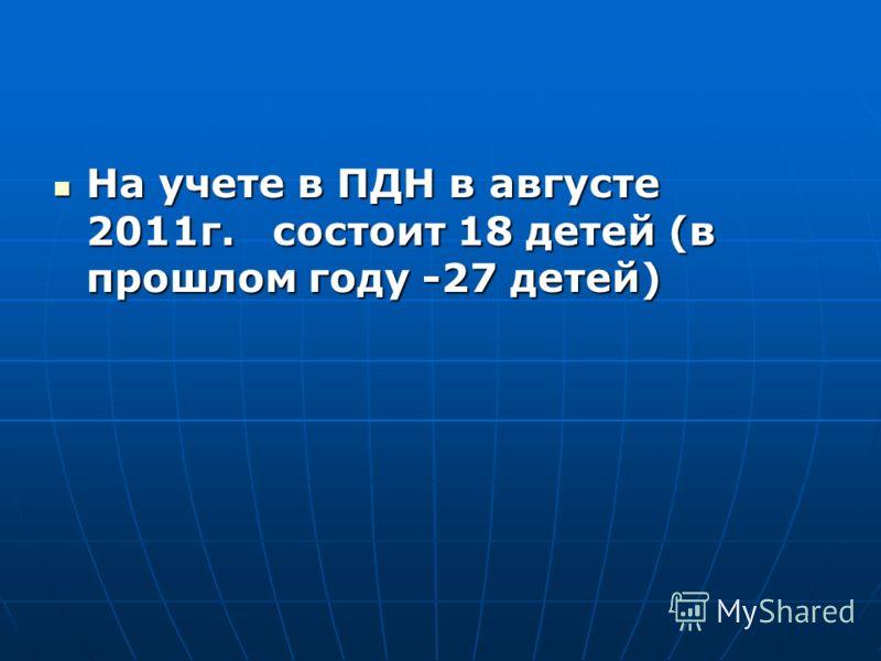 На учете в ПДН в августе 2011г. состоит 18 детей (в прошлом году -27 детей) На учете в ПДН в августе 2011г. состоит 18 детей (в прошлом году -27 детей)