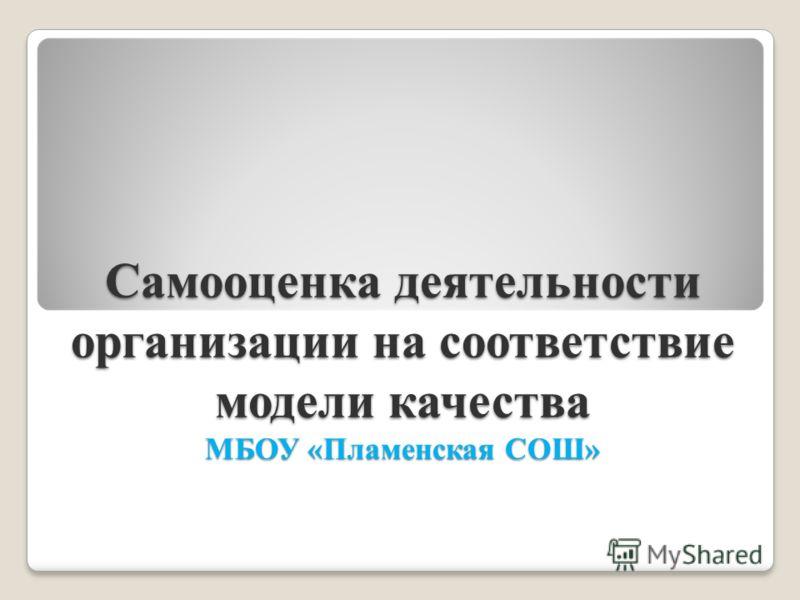 Самооценка деятельности организации на соответствие модели качества МБОУ «Пламенская СОШ»