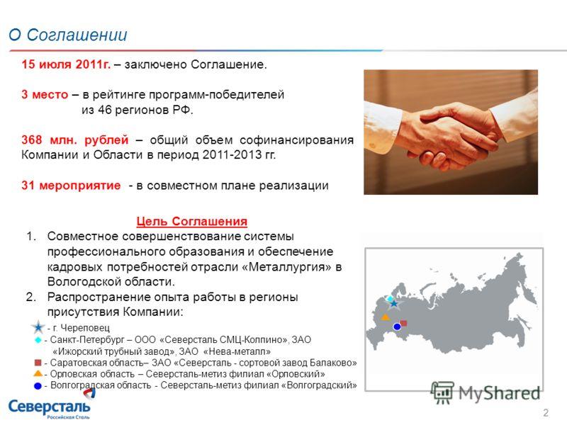О Соглашении 2 15 июля 2011г. – заключено Соглашение. 3 место – в рейтинге программ-победителей из 46 регионов РФ. 368 млн. рублей – общий объем софинансирования Компании и Области в период 2011-2013 гг. 31 мероприятие - в совместном плане реализации