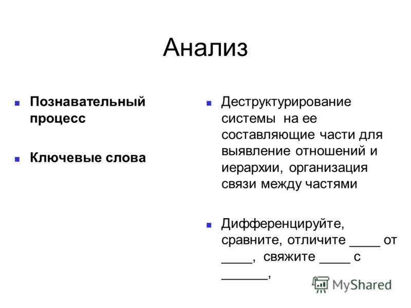 Анализ Познавательный процесс Ключевые слова Деструктурирование системы на ее составляющие части для выявление отношений и иерархии, организация связи между частями Дифференцируйте, сравните, отличите ____ от ____, свяжите ____ с ______,