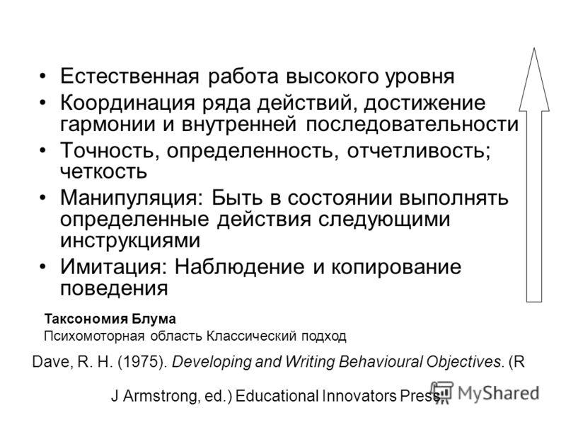 Dave, R. H. (1975). Developing and Writing Behavioural Objectives. (R J Armstrong, ed.) Educational Innovators Press. Естественная работа высокого уровня Координация ряда действий, достижение гармонии и внутренней последовательности Точность, определ