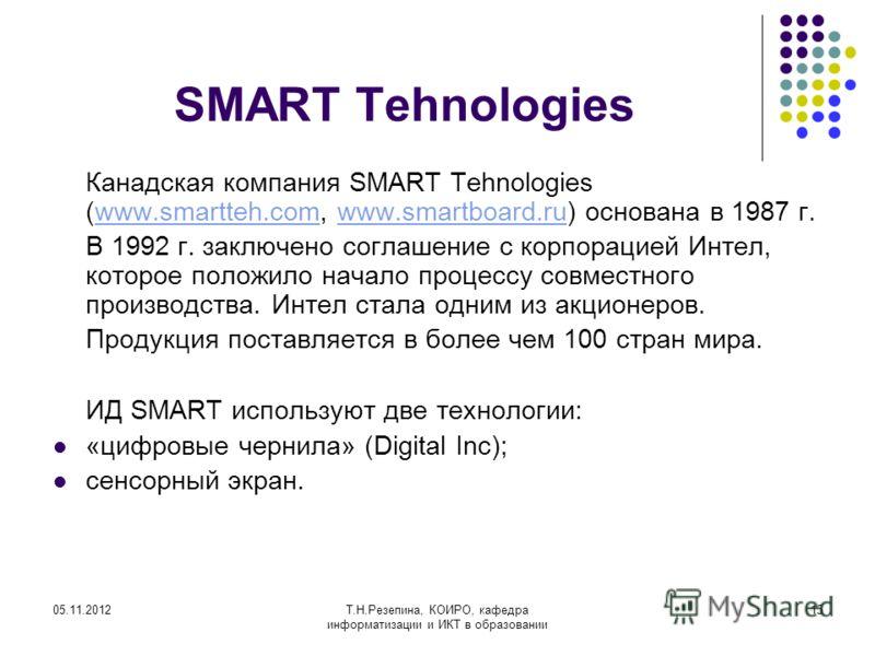 05.11.2012Т.Н.Резепина, КОИРО, кафедра информатизации и ИКТ в образовании 15 SMART Tehnologies Канадская компания SMART Tehnologies (www.smartteh.com, www.smartboard.ru) основана в 1987 г.www.smartteh.comwww.smartboard.ru В 1992 г. заключено соглашен