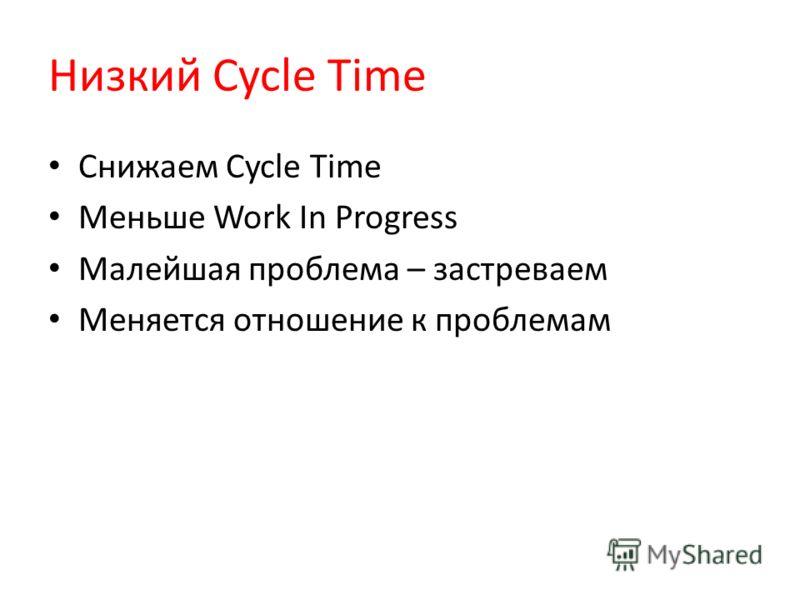 Низкий Cycle Time Снижаем Cycle Time Меньше Work In Progress Малейшая проблема – застреваем Меняется отношение к проблемам