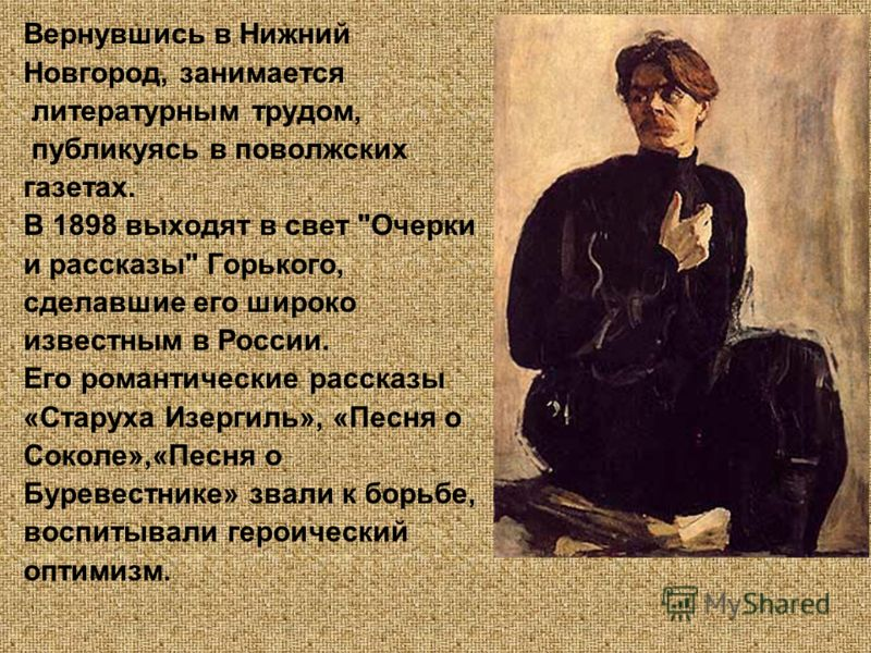 Вернувшись в Нижний Новгород, занимается литературным трудом, публикуясь в поволжских газетах. В 1898 выходят в свет