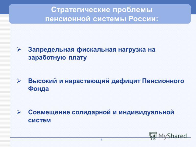 3 Рекордный уровень нагрузки Стратегические проблемы пенсионной системы России: Запредельная фискальная нагрузка на заработную плату Высокий и нарастающий дефицит Пенсионного Фонда Совмещение солидарной и индивидуальной систем