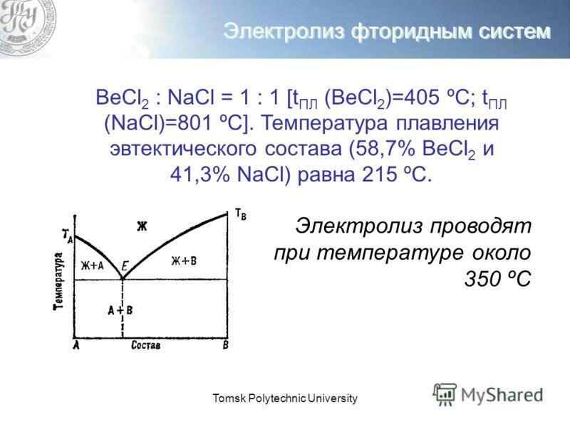 Tomsk Polytechnic University Электролиз фторидным систем ВеCl 2 : NaCl = 1 : 1 [t ПЛ (ВеCl 2 )=405 ºС; t ПЛ (NaCl)=801 ºС]. Температура плавления эвтектического состава (58,7% ВеCl 2 и 41,3% NaCl) равна 215 ºС. Электролиз проводят при температуре око