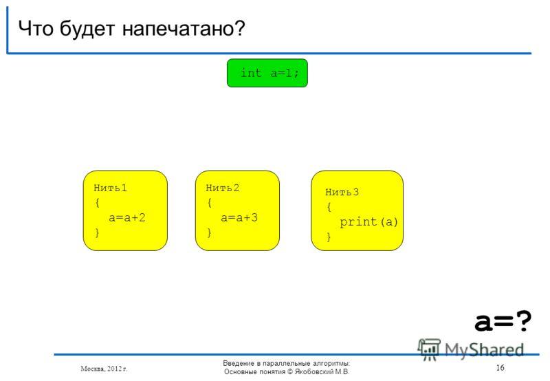 Что будет напечатано? Москва, 2012 г. Введение в параллельные алгоритмы: Основные понятия © Якобовский М.В. Нить1 { a=a+2 } int a=1; Нить2 { a=a+3 } Нить3 { print(a) } 16 a=?