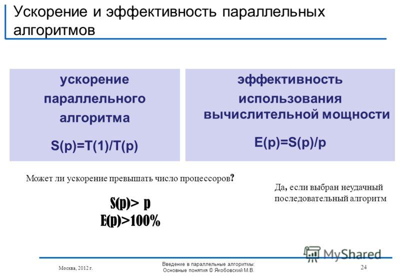 ускорение параллельного алгоритма S(p)=T(1)/T(p) Ускорение и эффективность параллельных алгоритмов Москва, 2012 г. эффективность использования вычислительной мощности E(p)=S(p)/p Введение в параллельные алгоритмы: Основные понятия © Якобовский М.В. 2