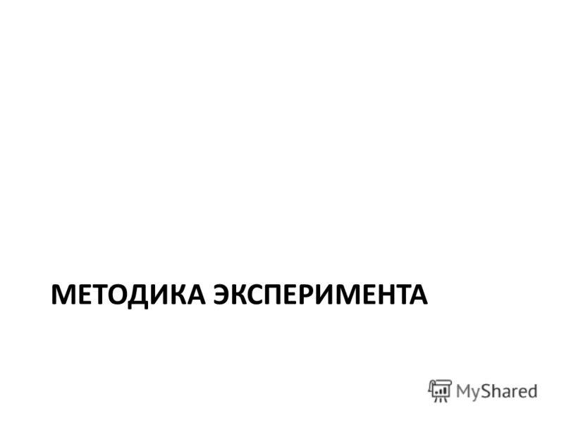 МЕТОДИКА ЭКСПЕРИМЕНТА