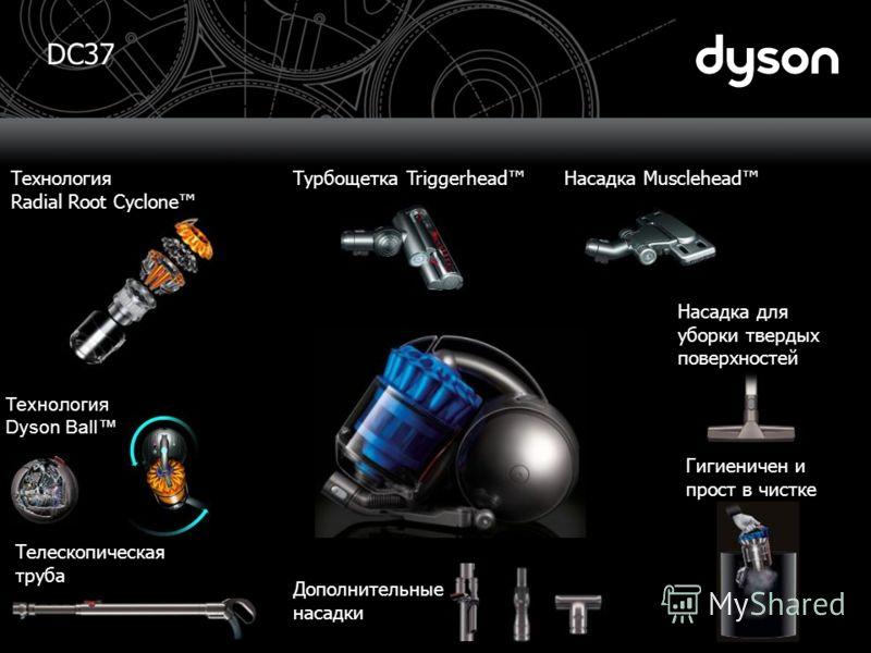 DC37 Гигиеничен и прост в чистке Дополнительные насадки Телескопическая труба Технология Radial Root Cyclone Насадка для уборки твердых поверхностей Технология Dyson Ball Насадка MuscleheadТурбощетка Triggerhead