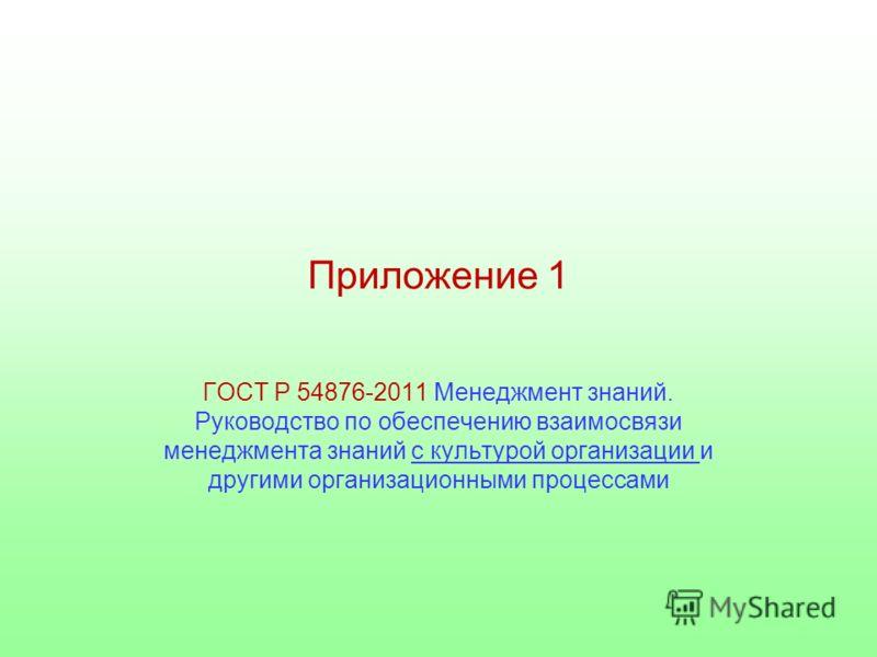 Приложение 1 ГОСТ Р 54876-2011 Менеджмент знаний. Руководство по обеспечению взаимосвязи менеджмента знаний с культурой организации и другими организационными процессами