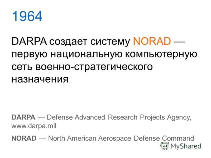 1964 DARPA создает систему NORAD первую национальную компьютерную сеть военно-стратегического назначения DARPA Defense Advanced Research Projects Agency, www.darpa.mil NORAD North American Aerospace Defense Command