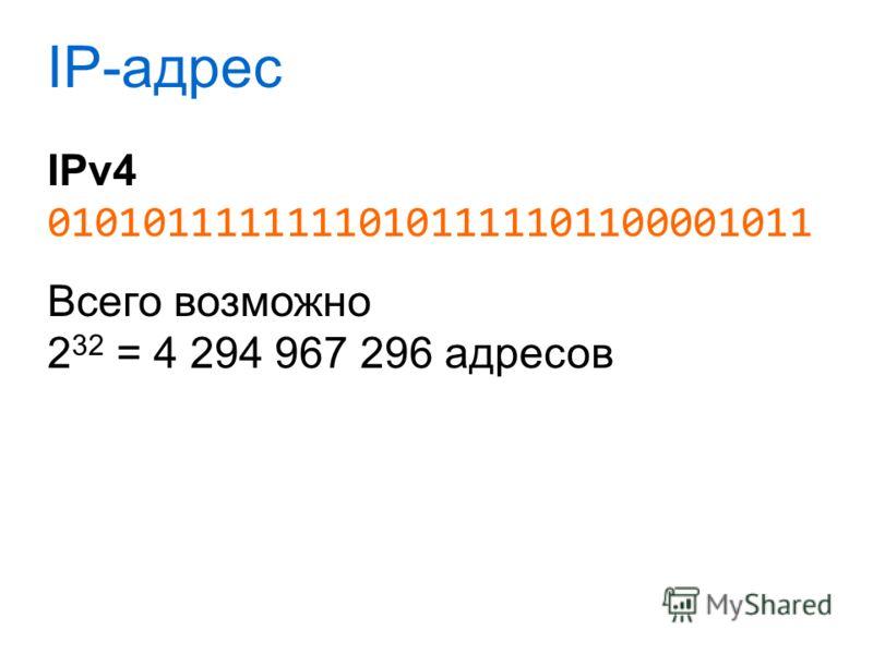 IP-адрес IPv4 01010111111110101111101100001011 Всего возможно 2 32 = 4 294 967 296 адресов