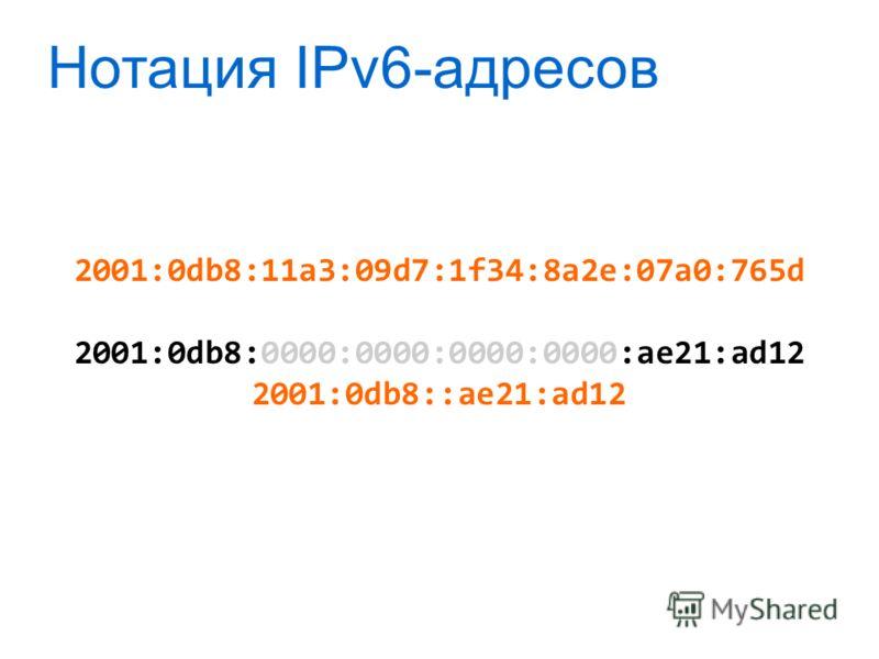 Нотация IPv6-адресов 2001:0db8:11a3:09d7:1f34:8a2e:07a0:765d 2001:0db8:0000:0000:0000:0000:ae21:ad12 2001:0db8::ae21:ad12