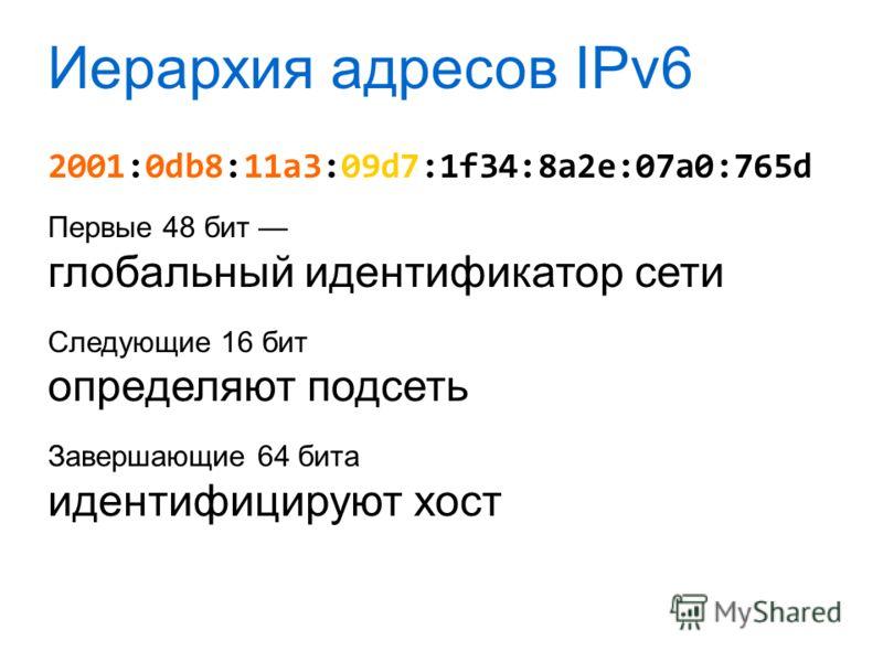 Иерархия адресов IPv6 2001:0db8:11a3:09d7:1f34:8a2e:07a0:765d Первые 48 бит глобальный идентификатор сети Следующие 16 бит определяют подсеть Завершающие 64 бита идентифицируют хост