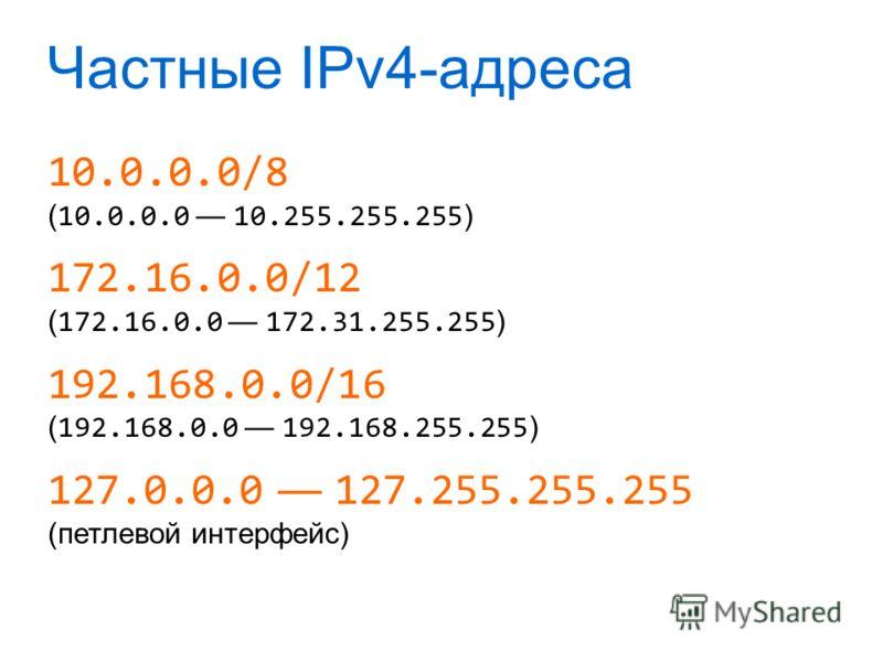 Частные IPv4-адреса 10.0.0.0/8 ( 10.0.0.0 10.255.255.255 ) 172.16.0.0/12 ( 172.16.0.0 172.31.255.255 ) 192.168.0.0/16 ( 192.168.0.0 192.168.255.255 ) 127.0.0.0 127.255.255.255 (петлевой интерфейс)