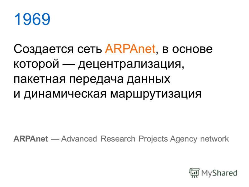 1969 Создается сеть ARPAnet, в основе которой децентрализация, пакетная передача данных и динамическая маршрутизация ARPAnet Advanced Research Projects Agency network