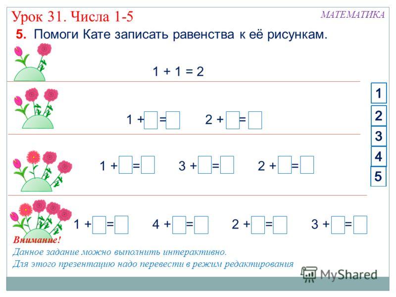 Урок 31. Числа 1-5 МАТЕМАТИКА 5. Помоги Кате записать равенства к её рисункам. 1 + 1 = 2 1 + 4 = 52 + 3 = 54 + 1 = 53 + 2 = 5 3 + 1 = 41 + 3 = 42 + 2 = 4 1 + 2 = 32 + 1 = 3 1 2 3 4 5 1 2 3 4 5 1 2 3 4 5 1 2 3 4 5 1 2 3 4 5 1 2 3 4 5 Внимание! Данное