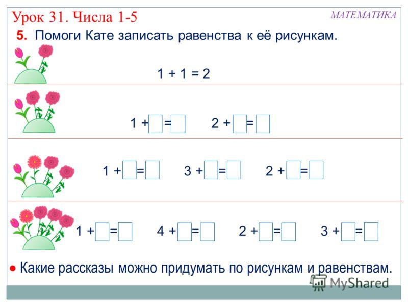 Урок 31. Числа 1-5 МАТЕМАТИКА 5. Помоги Кате записать равенства к её рисункам. 1 + 1 = 2 1 + 4 = 52 + 3 = 54 + 1 = 53 + 2 = 5 3 + 1 = 41 + 3 = 42 + 2 = 4 1 + 2 = 32 + 1 = 3 Какие рассказы можно придумать по рисункам и равенствам.