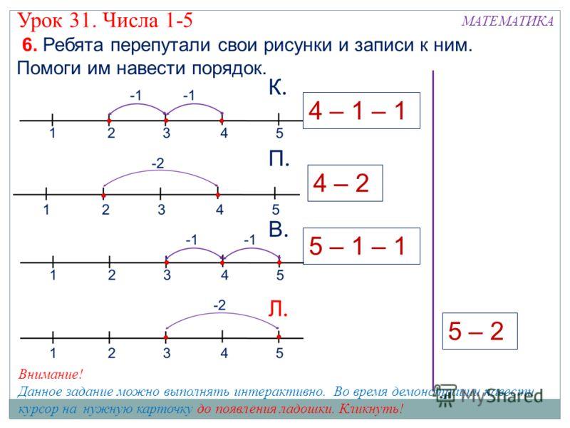 МАТЕМАТИКА Урок 31. Числа 1-5 6. Ребята перепутали свои рисунки и записи к ним. Помоги им навести порядок. 5 – 2 К.К. П.П. В.В. Л.Л. 4 – 2 5 – 1 – 1 4 – 1 – 1 Внимание! Данное задание можно выполнять интерактивно. Во время демонстрации навести курсор
