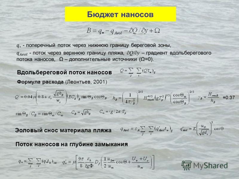 Бюджет наносов Вдольбереговой поток наносов Формула расхода (Леонтьев, 2001) =0.37 Эоловый снос материала пляжа Поток наносов на глубине замыкания