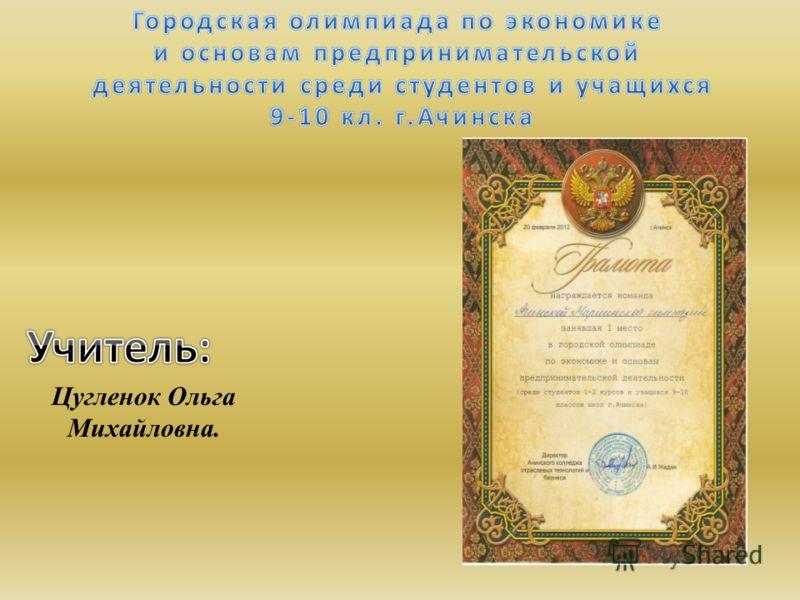 Цугленок Ольга Михайловна.