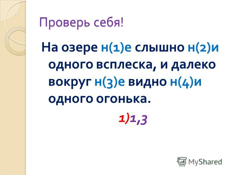 Проверь себя ! На озере н (1) е слышно н (2) и одного всплеска, и далеко вокруг н (3) е видно н (4) и одного огонька. 1)1,3