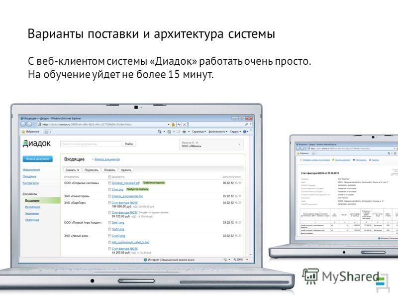 С веб-клиентом системы «Диадок» работать очень просто. На обучение уйдет не более 15 минут. Варианты поставки и архитектура системы