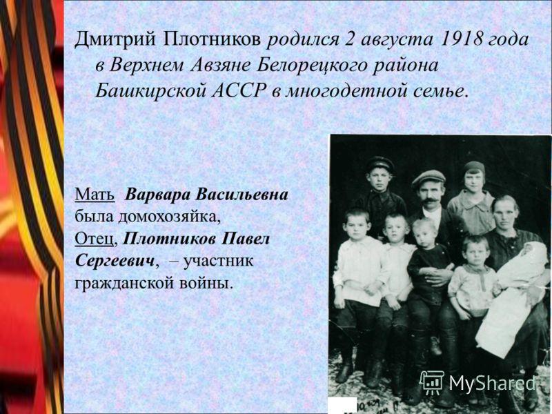 Дмитрий Плотников родился 2 августа 1918 года в Верхнем Авзяне Белорецкого района Башкирской АССР в многодетной семье. Мать Варвара Васильевна была домохозяйка, Отец, Плотников Павел Сергеевич, – участник гражданской войны.