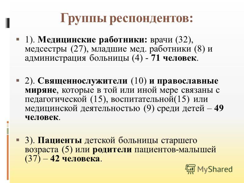 Группы респондентов: 1). Медицинские работники: врачи (32), медсестры (27), младшие мед. работники (8) и администрация больницы (4) - 71 человек. 2). Священнослужители (10) и православные миряне, которые в той или иной мере связаны с педагогической (