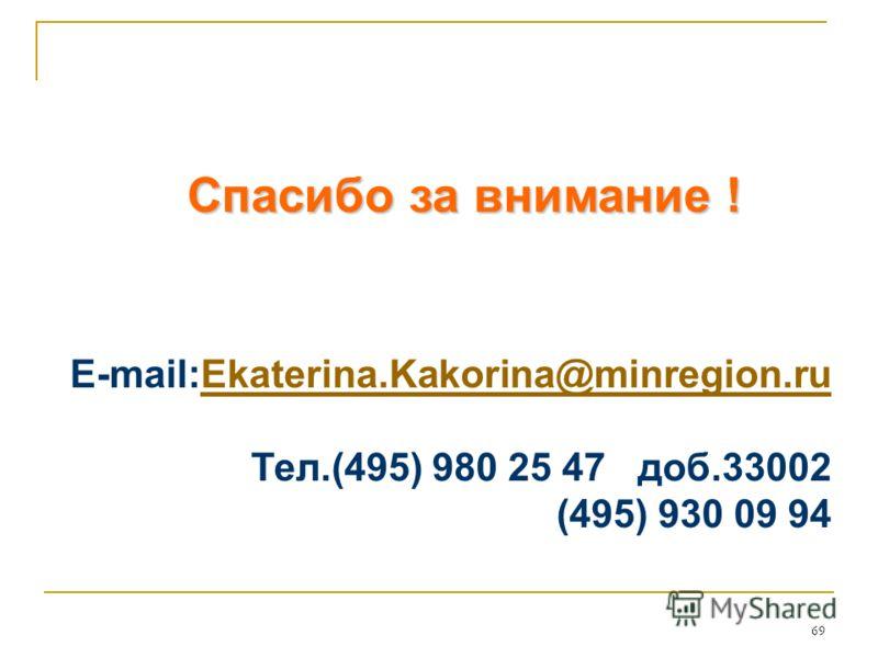 69 Спасибо за внимание ! E-mail:Еkaterina.Kakorina@minregion.ruЕkaterina.Kakorina@minregion.ru Тел.(495) 980 25 47 доб.33002 (495) 930 09 94