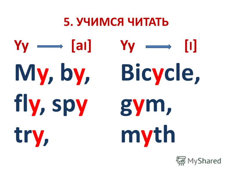 5. УЧИМСЯ ЧИТАТЬ Yy [a I ] My, by, fly, spy try, Yy [ I ] Bicycle, gym, myth