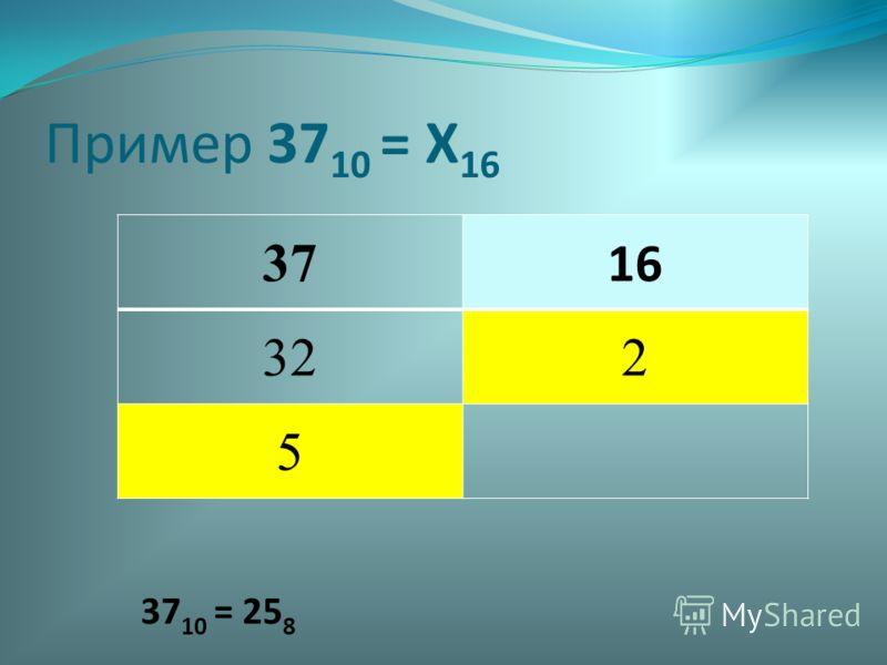 37 16 322 5 37 10 = 25 8 Пример 37 10 = Х 16