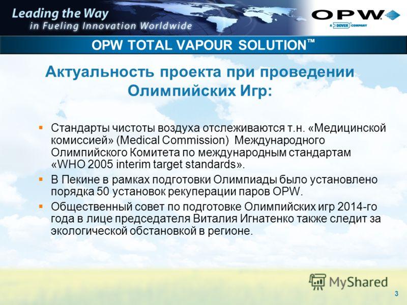 3 OPW TOTAL VAPOUR SOLUTION Стандарты чистоты воздуха отслеживаются т.н. «Медицинской комиссией» (Medical Commission) Международного Олимпийского Комитета по международным стандартам «WHO 2005 interim target standards». В Пекине в рамках подготовки О
