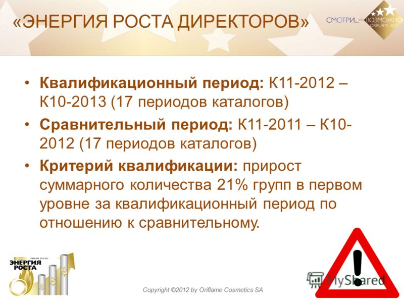 Copyright ©2012 by Oriflame Cosmetics SA Квалификационный период: К11-2012 – К10-2013 (17 периодов каталогов) Сравнительный период: К11-2011 – К10- 2012 (17 периодов каталогов) Критерий квалификации: прирост суммарного количества 21% групп в первом у