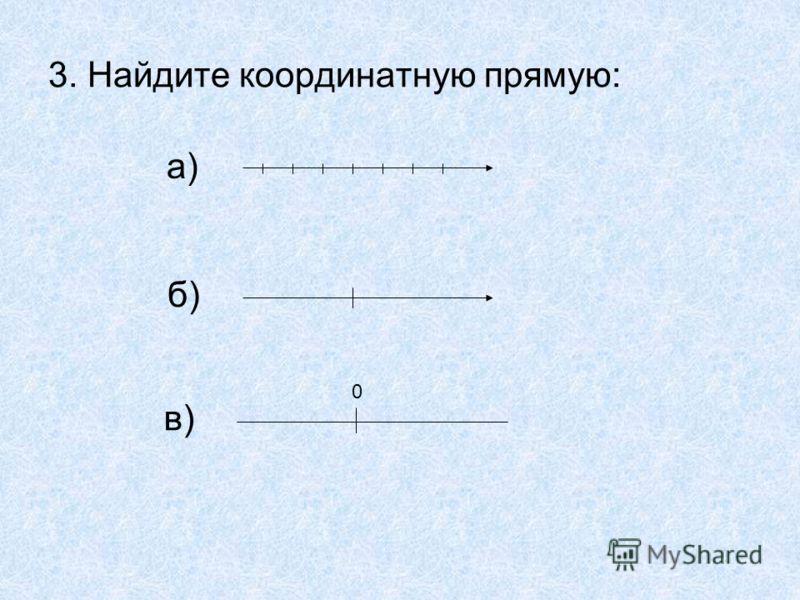3. Найдите координатную прямую: а) б) в) О 0