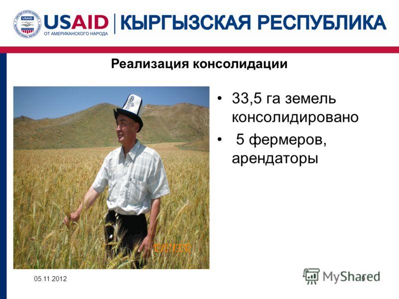 Реализация консолидации 33,5 га земель консолидировано 5 фермеров, арендаторы 05.11.20129