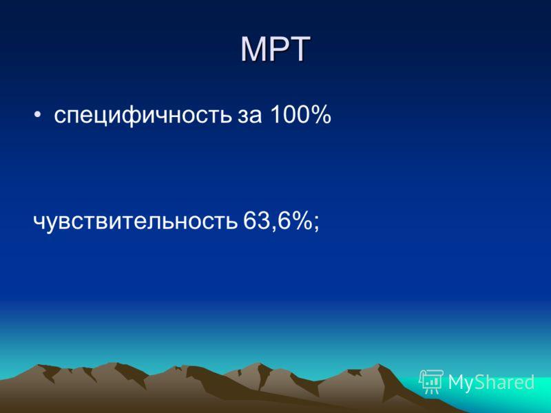 МРТ специфичность за 100% чувствительность 63,6%;