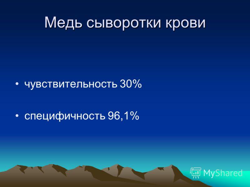 Медь сыворотки крови чувствительность 30% специфичность 96,1%
