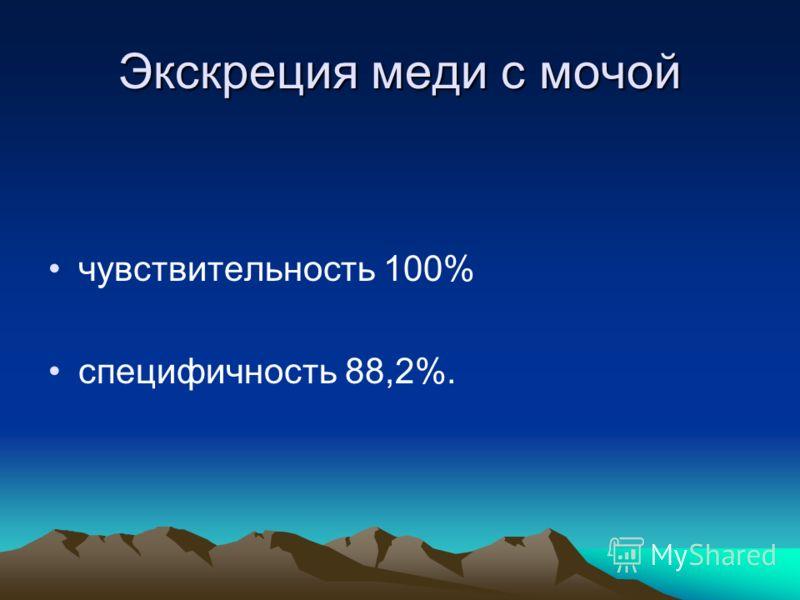 Экскреция меди с мочой чувствительность 100% специфичность 88,2%.