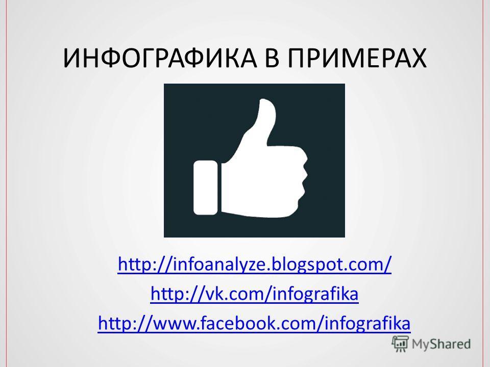 ИНФОГРАФИКА В ПРИМЕРАХ http://infoanalyze.blogspot.com/ http://vk.com/infografika http://www.facebook.com/infografika