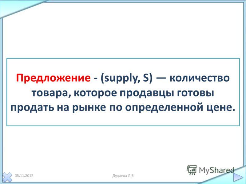 05.11.2012Дудаева Л.В Предложение - (supply, S) количество товара, которое продавцы готовы продать на рынке по определенной цене.