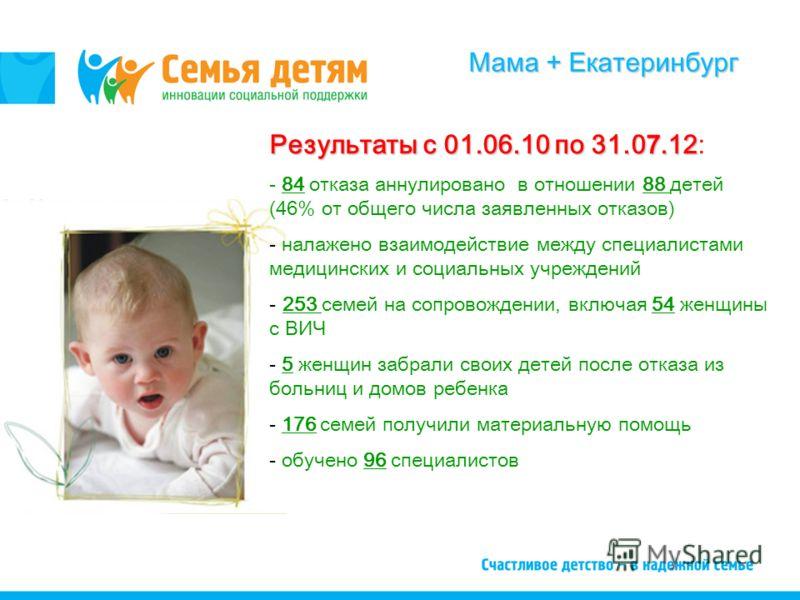 Мама + Екатеринбург Результаты с 01.06.10 по 31.0 7.12 Результаты с 01.06.10 по 31.0 7.12: - 84 отказа аннулировано в отношении 88 детей (46% от общего числа заявленных отказов) - налажено взаимодействие между специалистами медицинских и социальных у