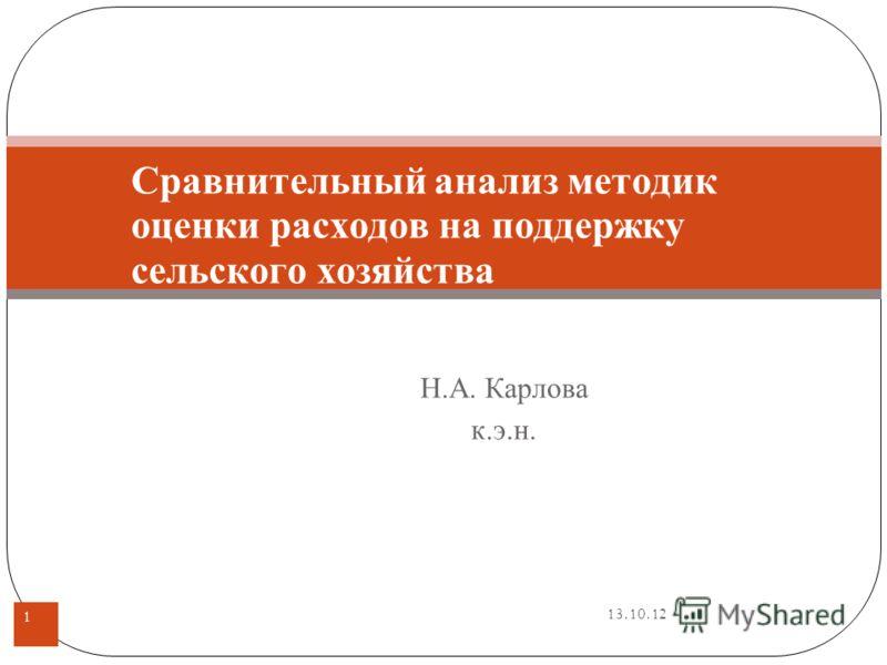 13.10.12 Н.А. Карлова к.э.н. 1 Сравнительный анализ методик оценки расходов на поддержку сельского хозяйства