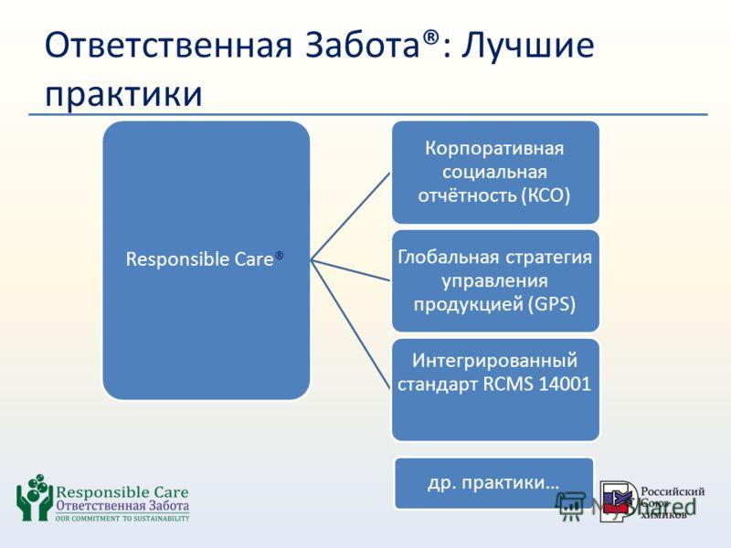 Ответственная Забота®: Лучшие практики Responsible Care® Корпоративная социальная отчётность (КСО) Глобальная стратегия управления продукцией (GPS) Интегрированный стандарт RCMS 14001 др. практики…