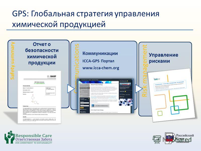 GPS: Глобальная стратегия управления химической продукцией Safety summary Отчет о безопасности химической продукции Communications Коммуникации ICCA-GPS Портал www.icca-chem.org Risk management Управление рисками