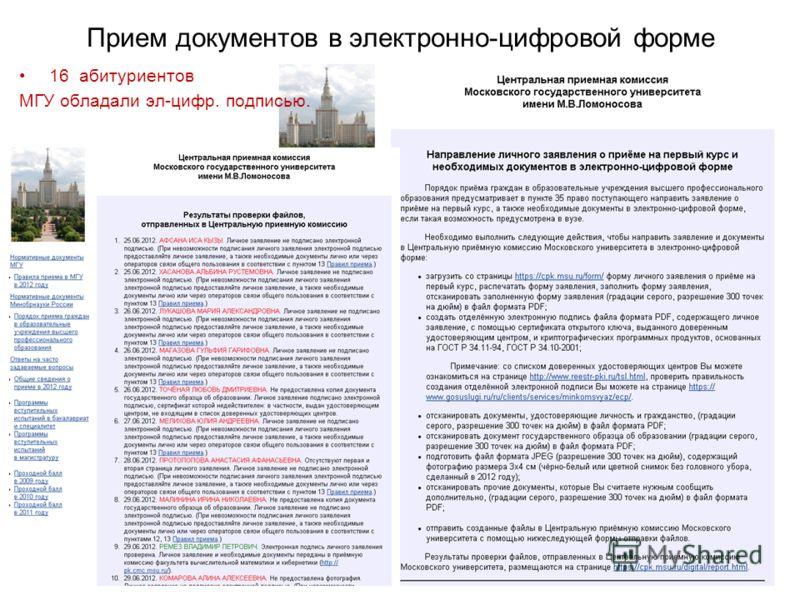 Прием документов в электронно-цифровой форме 16 абитуриентов МГУ обладали эл-цифр. подписью.